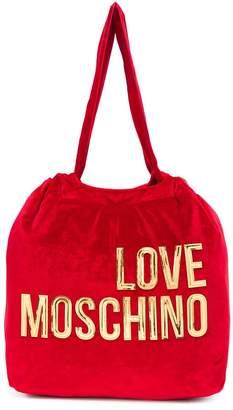 Love Moschino logo printed cotton tote bag