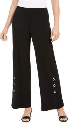 JM Collection Grommet-Trim Wide-Leg Knit Pants