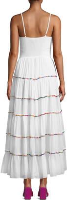 Catherine Malandrino Sleeveless V-Neck Tiered Cotton Maxi Dress w/ Multicolor Pompom Trim