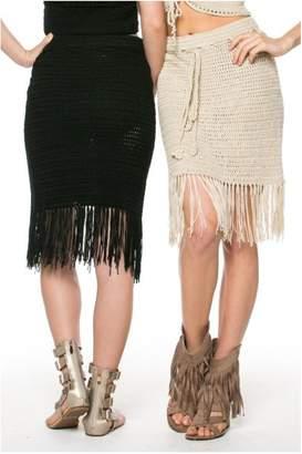 POL Cream Fringes Skirt