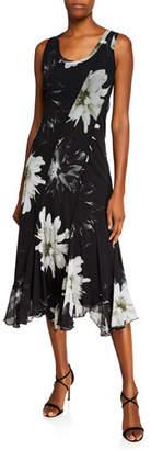Fuzzi Fracture Flower-Print Scoop-Neck Sleeveless Seamed Dress
