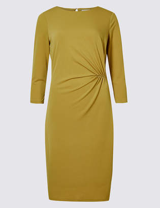 M&S CollectionMarks and Spencer Twisted Drape 3/4 Sleeve Shift Dress