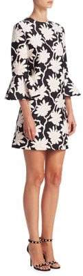Valentino Rhododendron Bell-Sleeve Shift Dress