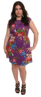 Purple Floral-Print Fishnet-Shoulder Dress