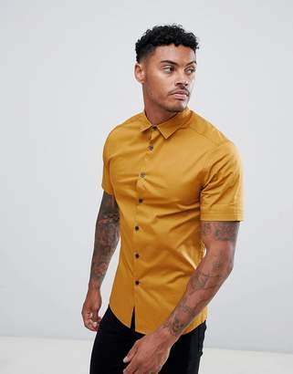 Asos DESIGN skinny shirt in mustard