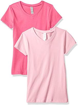 Blend of America Clementine Apparel Women's 2 Pack Short Sleeve T Shirts Easy Tag V Neck Soft Cotton Undershirt Tees (6640)