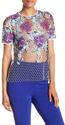 Diane von Furstenberg Short Sleeve Lace Shirt