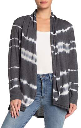 C&C California Printed Textured Knit Shawl Cardigan