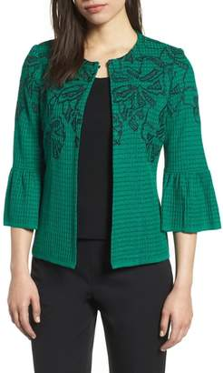 Ming Wang Embroidered Bell Sleeve Sweater Jacket