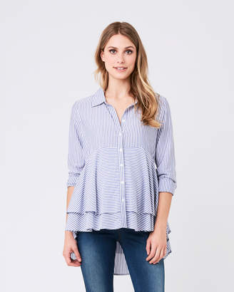 Ripe Maternity Stripe Layered Peplum Shirt