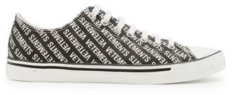 Vetements Logo Low Top Leather Trainers - Mens - Black White
