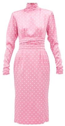 Alessandra Rich Polka Dot Silk Midi Dress - Womens - Pink White