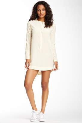 Alternative Silk Blend Henley Long Sleeve Dress