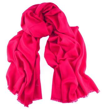 Bright By Black Raspberry Pink Handwoven Cashmere Shawl