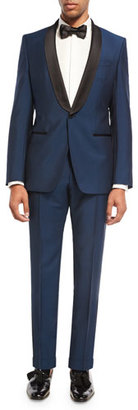 Boss Hugo Boss BOSS Hugo Boss Satin-Collar Tuxedo Jacket, Blue/Black $1,095 thestylecure.com