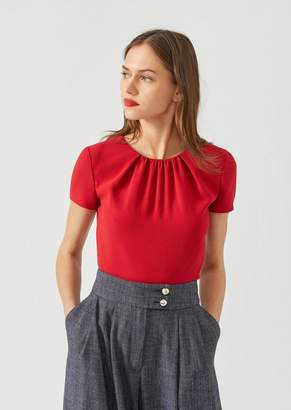 Emporio Armani Blouse In Cady With Pleated Neckline