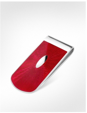Forzieri Exclusives Red Enamel Engraved Sterling Silver Money Clip