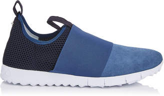 Jimmy Choo OAKLAND/M Navy Mesh and Ocean Suede Trainers