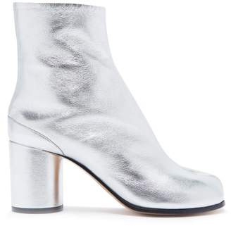 Maison Margiela Tabi Split Toe Leather Ankle Boots - Womens - Silver