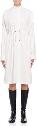 Jil Sander Mock Neck Drawstring Midi Dress