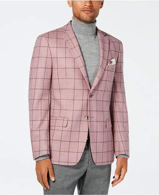 Tallia Orange Men's Slim-Fit Pink/Gray Windowpane Wool Sport Coat