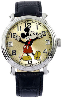Disney Mickey Black Leather Strap Watch