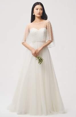Jenny Yoo JENNY BY  Fiona Imitation Pearl Tulle Top