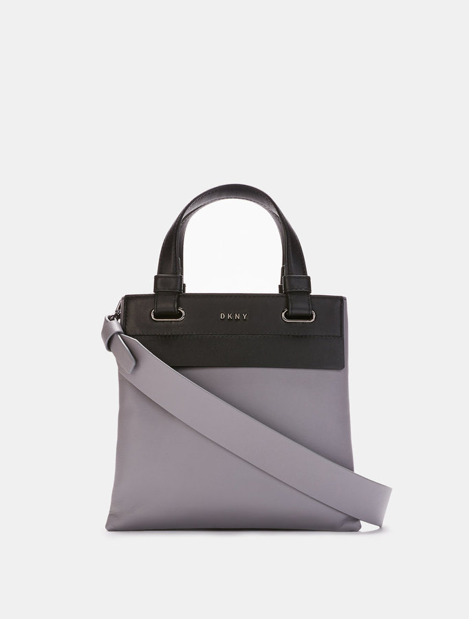 DKNY HEAVY NAPPA LEATHER MINI NORTH\u002FSOUTH TOTE