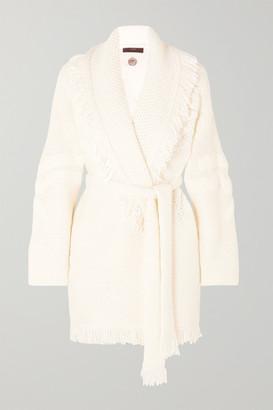 Alanui Fringed Merino Wool-blend Jacquard Cardigan - White