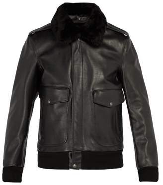 Schott - Flight Detachable Collar Leather Jacket - Mens - Black