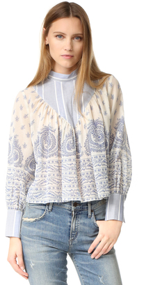 Sea Stripe & Border Long Sleeve Top $315 thestylecure.com