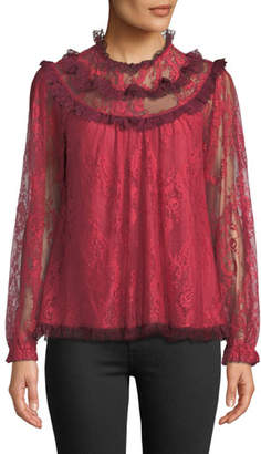 Needle & Thread Scallop Frill Lace Long-Sleeve Top