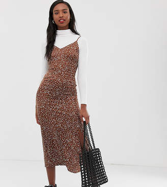 Glamorous Tall midi slip dress in spot satin