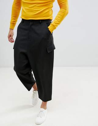 Asos DESIGN drop crotch tapered heavy jersey PANTS with cargo pockets
