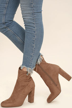 Steve Madden Edit Camel Suede High Heel Mid-Calf Boots $89 thestylecure.com