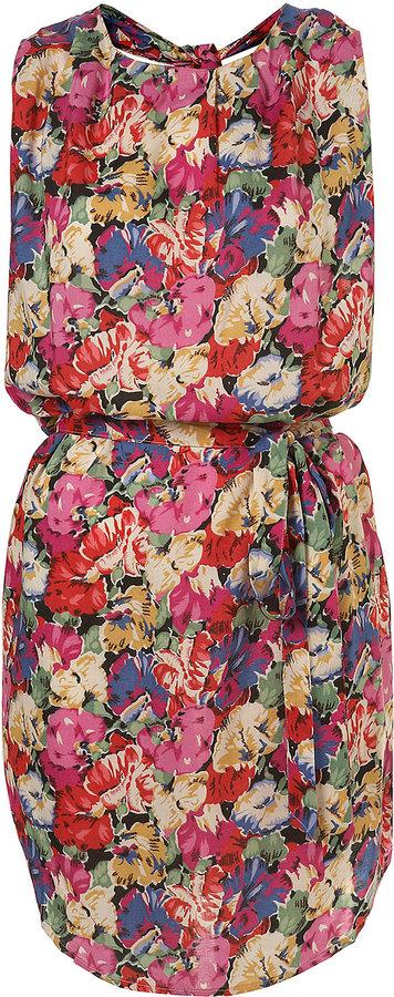 Pink Pop Floral Print Knotback Dress