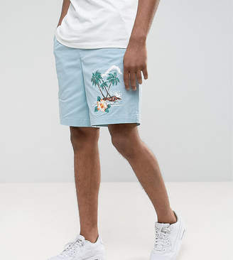 Asos Design TALL Slim Shorts with Elasticated Waist and Beach Placement Print