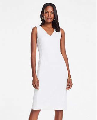 Ann Taylor Tall Textured Jacquard V-Neck Sheath Dress