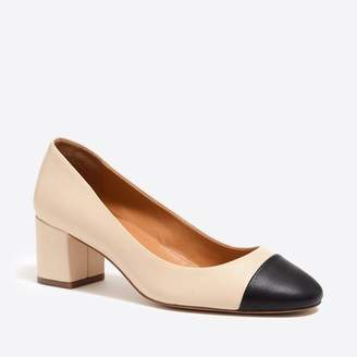 J.Crew Factory Bryn cap-toe leather block heels