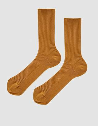 The Nude Label Cotton Crew Sock in Mustard
