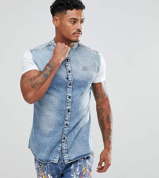 SikSilk muscle denim shirt in blue with jersey sleeves