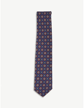 HOLIDAY & BROWN Grid-patterned circle and square floral print silk tie