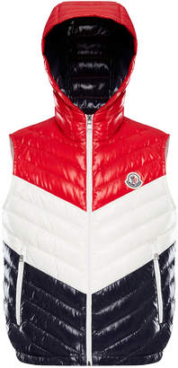 Moncler Tricolor Chevron Quilted Hooded Vest, Size 4-6