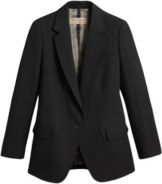 Burberry topstitch detail tailored wool jacket
