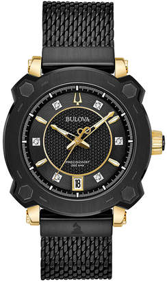 Bulova Women's Precisionist Grammy Diamond-Accent Black Stainless Steel Mesh Bracelet Watch 38mm