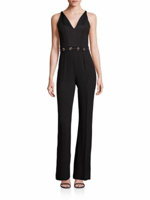 Ramy Brook Tilda Plunge Lace Up Waist Jumpsuit $545 thestylecure.com
