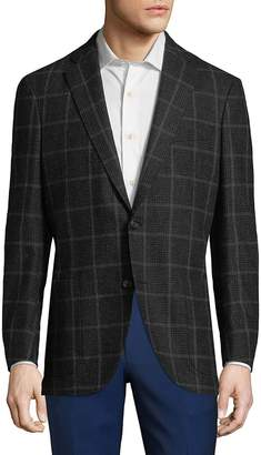Luciano Barbera Men's Plaid Wool Sports Sportcoat