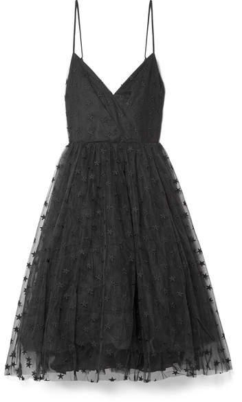 J.Crew - Embroidered Tulle Midi Dress - Black
