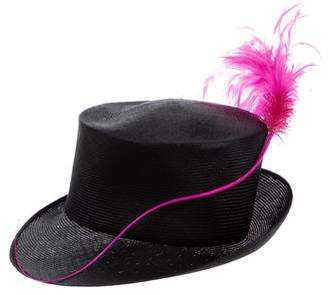 Philip Treacy Feather-Trimmed Straw Hat