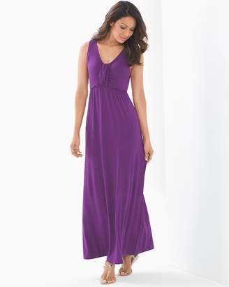Soft Jersey Sleeveless Knotted V-Neck Maxi Dress Imperial Purple